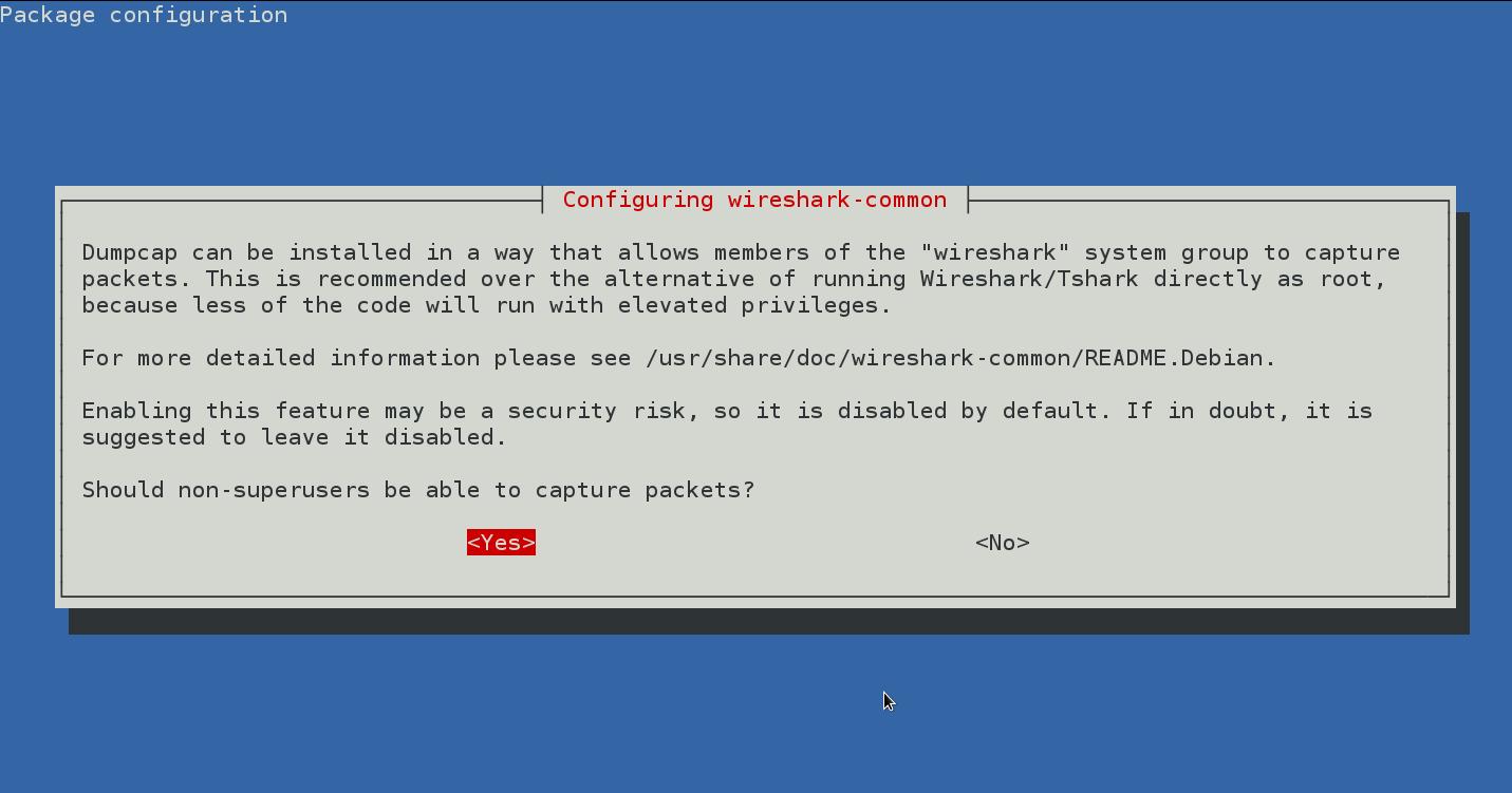 dpkg-reconfigure wireshark-common-debian